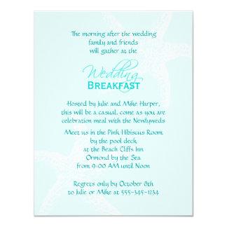 Pequeno almoço azul do casamento da estrela do mar convite 10.79 x 13.97cm