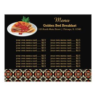 Pequeno almoço do menu panfletos coloridos