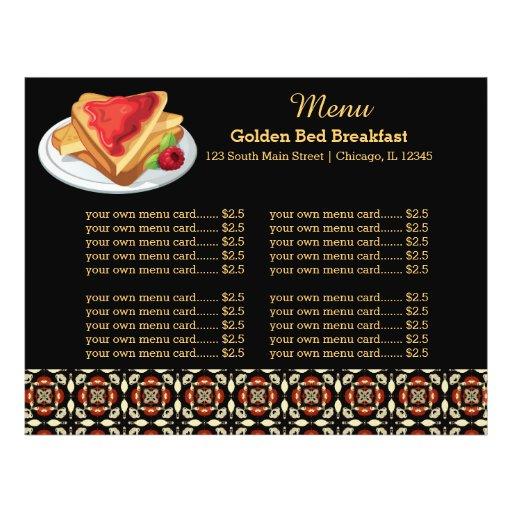 Pequeno almoço do menu modelo de panfletos