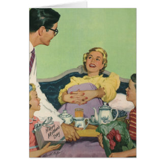 Pequeno almoço servido mamã do vintage na cama cartão comemorativo