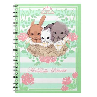 pequeno caderno dos coelhos do trio branco/verde