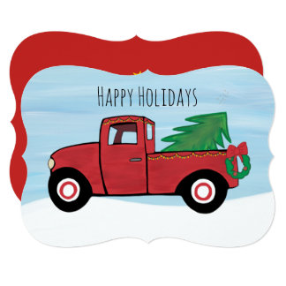 Pequeno Vermelho Caminhão Natal Cartão Envelope