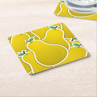 Pera amarela Funky Porta-copo De Papel Quadrado