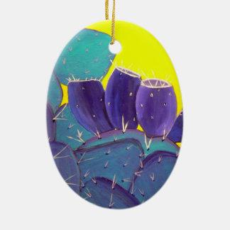 Pera espinhosa do deserto com fruta ornamento de cerâmica oval