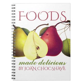 Peras da fruta do vintage que cozinham o caderno