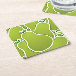 Peras verdes Funky Porta-copo De Papel Quadrado