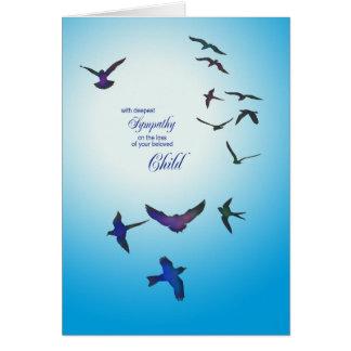 Perda de criança, cartão de simpatia, pássaros de