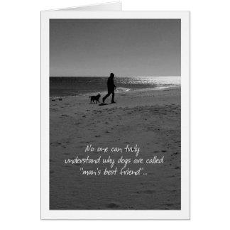 Perda de homem e de cão do cartão de simpatia do