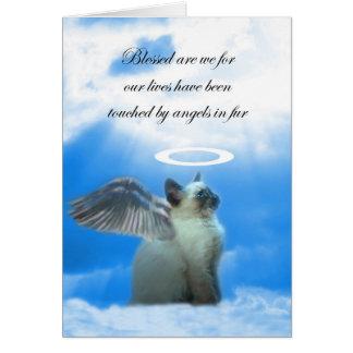 Perda do gatinho do anjo de cartão de simpatia do