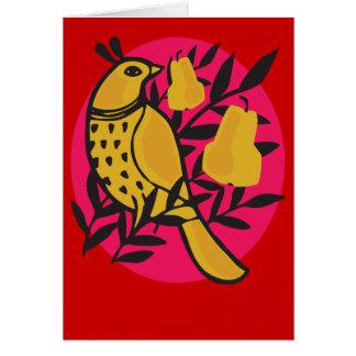 Perdiz em um cartão da árvore de pera