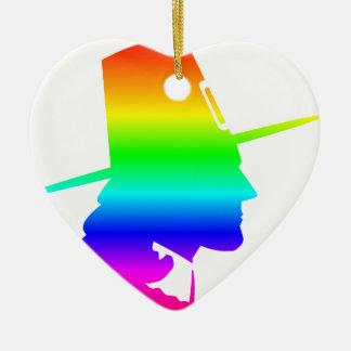 Peregrino do arco-íris ornamento de cerâmica coração