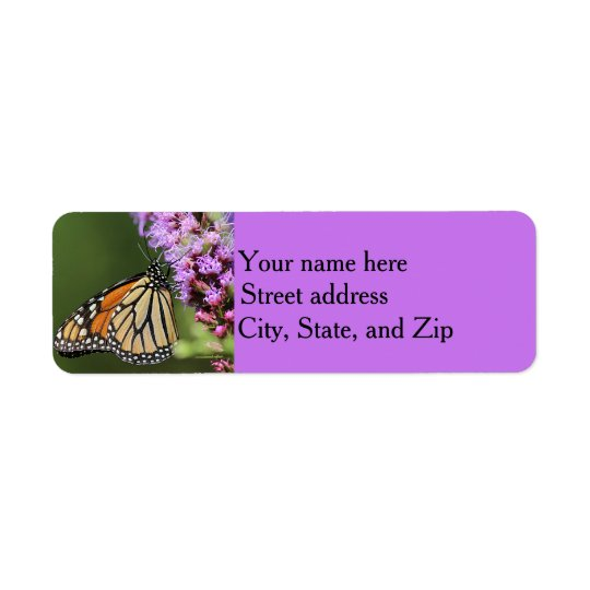 Perfil da borboleta de monarca etiqueta endereço de retorno
