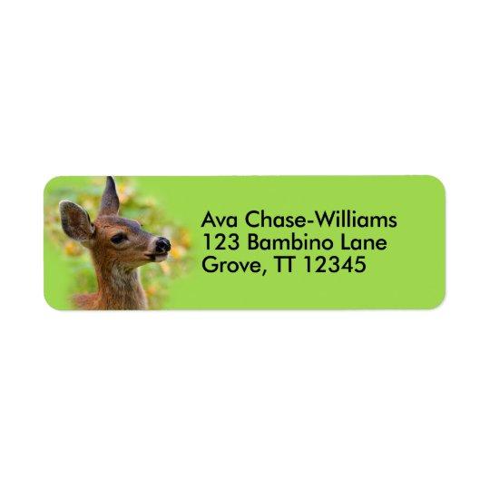 Perfil de um cervo de cauda negra novo etiqueta endereço de retorno