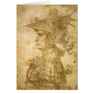 Perfil de um guerreiro no capacete cartão