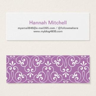 Perfil ornamentado à moda chique e elegante do cartão de visitas mini