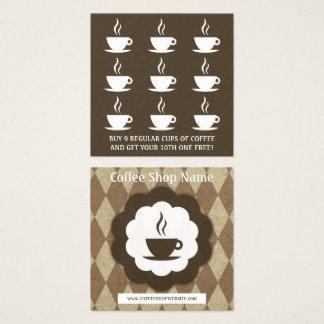 perfurador retro da lealdade do diamante do café cartão de visitas quadrado