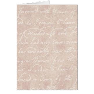 Pergaminho antigo de papel da escrita do roteiro d cartão comemorativo