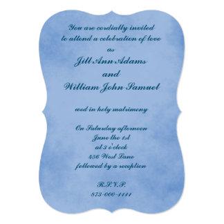 Pergaminho claro do azul de índigo convite 12.7 x 17.78cm