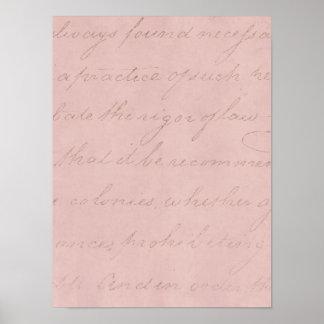 Pergaminho colonial do texto do rosa do rosa dos 1 poster