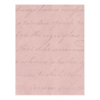 Pergaminho colonial do texto do rosa do rosa dos cartão postal