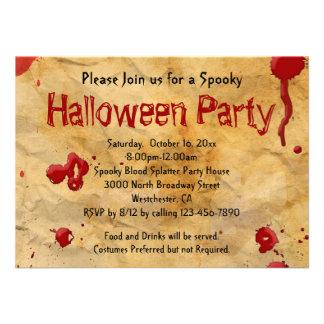 Pergaminho, convites do Dia das Bruxas do Splatter