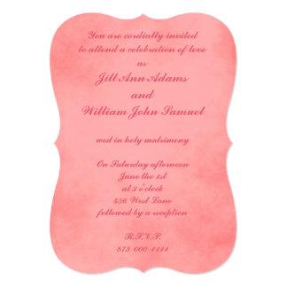 Pergaminho cor-de-rosa bonito convite 12.7 x 17.78cm
