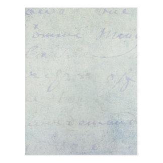 pergaminho do Grunge do roteiro do azul francês do Cartão Postal