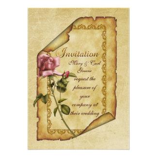 Pergaminho do rosa do rosa convites personalizado