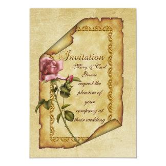Pergaminho do rosa do rosa convite 12.7 x 17.78cm