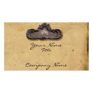 Pergaminho e cartão de visita antigos da chapa do