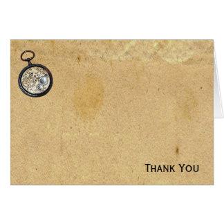 Pergaminho e compasso antigos cartão de nota