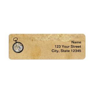 Pergaminho e compasso antigos etiqueta endereço de retorno