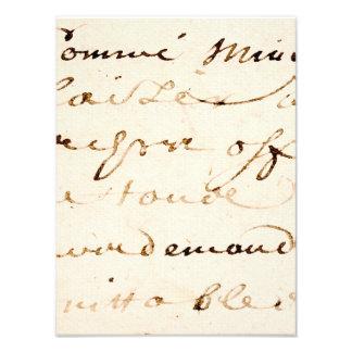 Pergaminho francês do roteiro da letra de Tan do Impressão De Foto