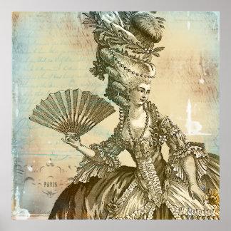 Pergaminho Lg do Sepia de Marie Antoinette. Impres Poster