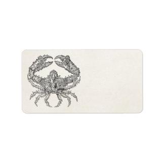 Pergaminho marinho do caranguejo do vintage etiqueta de endereço