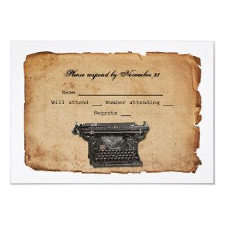 Pergaminho RSVP da máquina de escrever do vintage Convite 8.89 X 12.7cm