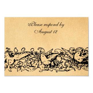 Pergaminho RSVP do vintage com envelopes Convite 8.89 X 12.7cm