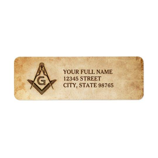 Pergaminho velho maçónico rústico das etiquetas de