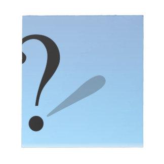 pergunta-marca bloco de notas