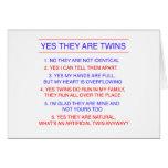 Perguntas dos gêmeos fraternos cartões