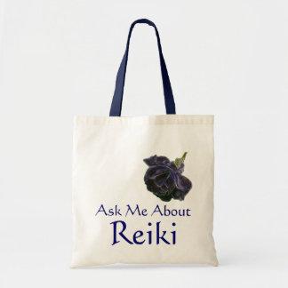 Pergunte-me sobre o rosa do roxo de Reiki Bolsa Tote