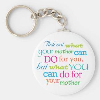 Pergunte não o que sua mãe pode fazer para você… chaveiros