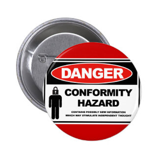 Perigo da conformidade do perigo bóton redondo 5.08cm