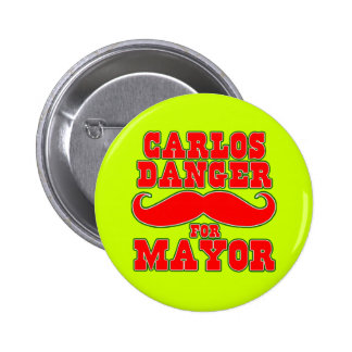 Perigo de Carlos para o Mayor com bigode Bóton Redondo 5.08cm