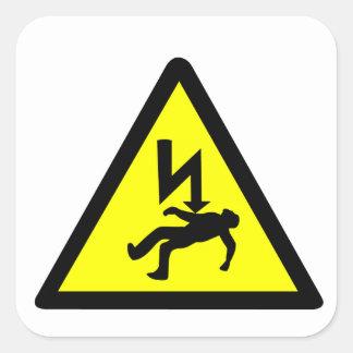 Perigo do símbolo de choque eléctrico adesivo quadrado