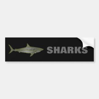 Perigo - tubarões selvagens adesivo para carro