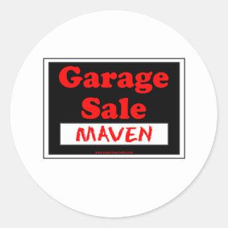Perito da venda de garagem adesivo em formato redondo