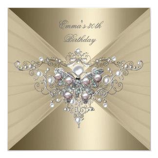 Pérola do rosa do café do ouro da festa de convite quadrado 13.35 x 13.35cm