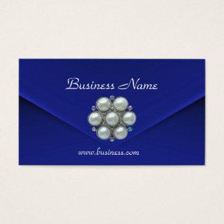 Pérolas azuis ricas de veludo do negócio do cartão