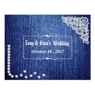 Pérolas & laço da sarja de Nimes que Wedding RSVP Cartão Postal